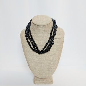 Black Onyx Chip Multi Strand Necklace